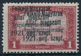** Nyugat-Magyarország V. 1921 1 K Dupla Felülnyomással, Katalógusokban Idáig Ismeretlen, Bodor Vizsgálójellel - Stamps