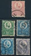 O 1871 K?nyomat 5kr + Réznyomat 3kr, 2 X 10kr, 25kr (23.000) - Stamps