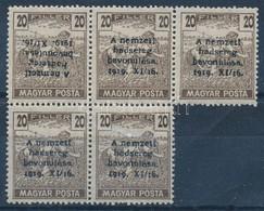 ** 1920 Nemzeti Hadsereg 20f ötöstömb, 1 érték Fordított Felülnyomással, Garancia Nélkül - Stamps