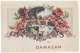 Cpa Fantaisie : Amitiés De Damazan - France