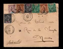 CONGO - RRR Lettre Type Groupe Quadricolore De Libreville , Cachet Octogonal LOANGO à Marseille - Covers & Documents