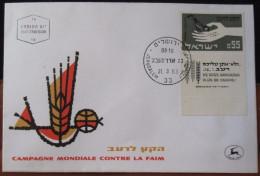 1963 CAMPAGNE MONDIALE CONTRE LA FAIM JERUSALEM CACHET TEL AVIV  AIR MAIL POST STAMP TAB  LETTER ENVELOPE ISRAEL - Israel