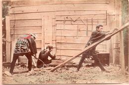 JAPON..Tirage Sur Papier Albuminé Aquarellé . Année 1880. Photo : 13,5 X 9 Cm. - Photos