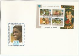 1979 BURUNDI FDC Miniature Sheet IYC  ART FLOWERS Stamps Cover Un United Nations Flower - UNO