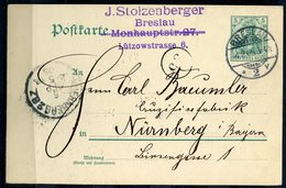 "German Empires/Polen 1905 Ganzsache Mi.Nr.P64 Mit Klaren Tagesstempel""Breslau 4.9.1905 ""1 GS Used - Covers & Documents"