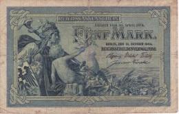 BILLETE DE ALEMANIA DE 5 MARK DEL AÑO 1904 (BANKNOTE) - [ 2] 1871-1918 : Imperio Alemán
