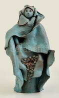 Csavlek Etelka (1947-): Szent Erzsébet, Festett Kerámia, Jelzett, Hibátlan, M: 33 Cm - Ceramics & Pottery