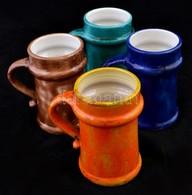 Mihály Béla (1930-2001): 4 Db Korsó, Mázas Kerámia, Jelzett, Egyiken Lepattanás, M:14 Cm (4×) - Ceramics & Pottery