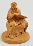 Jelzés Nélkül: Vándorzenész. Égetett Anyag, Kopás Nyomokkal, M:21 Cm, D:16 Cm - Ceramics & Pottery