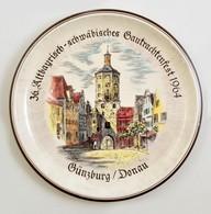 Ulmerkeramik  Günzburg/Donau Emlék Falitál, Levonóképes, Jelzett, Hibátlan, D:31 Cm - Ceramics & Pottery