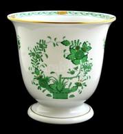 Herendi Indiai Kosár Mintás Kaspó, Porcelán, Kézzel Festett, Jelzett, Hibátlan, M:17 Cm, D: 18 Cm - Ceramics & Pottery