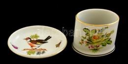 Herendi Rothschild Mintás Mini Porcelán Tálka + Virágmintás Fogpiszkálótartó, Jelzettek, Egyik Hajszálrepedéssel, Másik  - Ceramics & Pottery