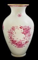 Herendi Indiai Kosár Mintás Porcelán Váza, Kézzel Festett, Jelzett, Hibátlan, M: 24 Cm - Ceramics & Pottery