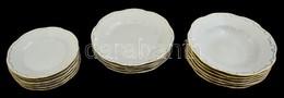Zsolnay Tányér Készlet (süteményes (6db), Lapos (5 Db), Mély (6db)) , Jelzett, Kopott Aranyozás, D:18,5-23,5 Cm - Ceramics & Pottery
