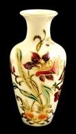 Zsolnay Virágmintás Porcelán Váza, Kézzel Festett, Jelzett, Hibátlan, M: 16,5 Cm - Ceramics & Pottery