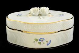 Hollóházi Bonbonier, Matricás, Jelzett, Kis Kopásokkal, 15,5×11×8 Cm - Ceramics & Pottery