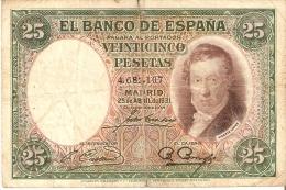 BILLETE DE ESPAÑA DE 25 PTAS DEL AÑO 1931 EN CALIDAD RC SIN SERIE - [ 2] 1931-1936 : Repubblica
