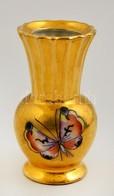 Drasche Mini Pillangós Váza (utólagos Festés), Kézzel Festett, Jelzett, Hibátlan, M:9,5 Cm - Ceramics & Pottery