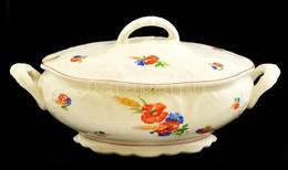 Gránit Pipacsmintás Fajansz Leveses Tál, Mázhibával, Lepattanással, Jelzett, 31×21×16 Cm - Ceramics & Pottery