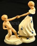 Royal Dux Táncolók, Kézzel Festett, Jelzett (Elly Strobach), Kopott Aranyozás, M:22 Cm, H:18 Cm/ Royal Dux Porcelain Fig - Ceramics & Pottery