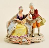 Lippelsdorf Páros Jelenet, Kézzel Festett, Jelzett, Nagyon Apró Lepattanással, 22×19 Cm - Ceramics & Pottery