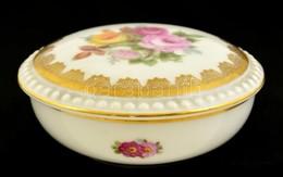 Rosenthal Virágmintás Bonbonier, Matricás, Hibátlan, Jelzett, D: 9 Cm, M: 4 Cm - Ceramics & Pottery