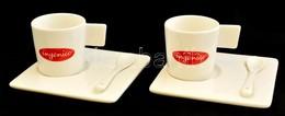 André Philippe Porcelán Kávés Készlet: 2 Db Csésze, 2 Db Kanál, 2 Db Talp, Matricás, Jelzés Nélkül, Saját Dobozában - Ceramics & Pottery