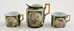 XIX. Sz . Vége: Részben Kézzel Festett Alt Wien Kiönt? 12 Cm (hibátlan) + 2 Teás Csésze Hajszálrepedésekkel / Jar Flawle - Ceramics & Pottery