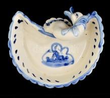 Hattyús Porcelán Tálka, Kézzel Festett, Jelzett, Jelzés Nélkül, Kopásokkal, 13×12×6 Cm - Ceramics & Pottery