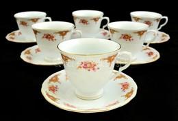 Kínai Jelzett Teás Csésze és Alj ( 6db), Matricás, Hibátlan - Ceramics & Pottery