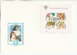 1979 PORTUGAL FDC Miniature Sheet IYC  Stamps Cover Un United Nations - FDC