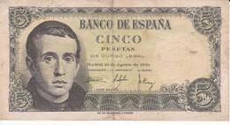 BILLETE DE ESPAÑA DE 5 PTAS DEL 16/08/1951 SERIE 1G EN CALIDAD BC (BANKNOTE) - [ 3] 1936-1975 : Regency Of Franco