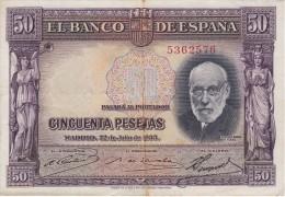BILLETE DE ESPAÑA DE 50 PTAS DEL AÑO 1935 SIN SERIE CALIDAD BC (BANKNOTE) - [ 2] 1931-1936 : Republic