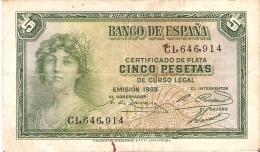 BILLETE DE ESPAÑA DE 5 PTAS DEL AÑO 1935 BC SERIE C (BANKNOTE) - [ 2] 1931-1936 : Republiek