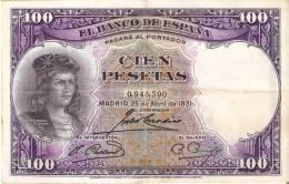 BILLETE DE ESPAÑA DE 100 PTAS DEL AÑO 1931 BC SIN SERIE  (BANKNOTE) - [ 2] 1931-1936 : Republic