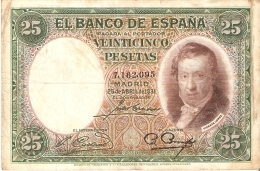 BILLETE DE ESPAÑA DE 25 PTAS DEL AÑO 1931 EN CALIDAD RC+ SIN SERIE - 25 Pesetas