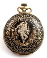Jelzett Niellós Zománcozott Ezüst Zsebóratok. Szép állapotú Zománccal / NIello Silver Pocket Watch Case D:5,1 Cm - Unclassified