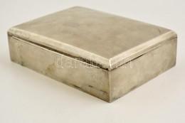 Ezüst (Ag.) Kártyadoboz, Jelzett, Fa Berakással, 18×13×5,5 Cm, Bruttó 546 G - Unclassified
