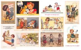 Lot De 25 CPA Illustrations D' Enfants - Humour Coquin - Cartes Humoristiques