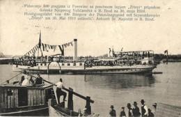 * T3 1910 Brod, Bosanski Brod; Zrínyi Oldalkerekes G?zhajó ünnepi útja / Steamship (Rb) - Postcards