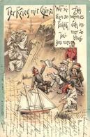 T2/T3 1900 Der Krieg Mit China.  Wir Sinken So Fröhlich Beisammen, Ach Wenn Es Doch Immer So Blieb! / War With China. We - Postcards
