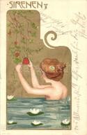 T2 1900 Sirenen V / Art Nouveau Golden Art Postcard. E.S.D.B. Serie 7059. Litho  S: Carl Józsa (Józsa Károly) - Unclassified
