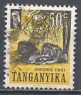 Tanganyika 1961. Scott #50 (U) Animal, Serengeti Lions * - Timbres