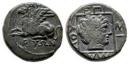 6 ABDERA, Thracia. 385-347 A.C. A/ Grifo Sentado A Izquierda. AB??-???O?. R/ Cabeza De Apolo A Derecha Dentro De Recuadr - Spain