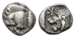 10 KYZICOS, Mysia. Obolo. 550-500 A.C. A/ Parte Delantera De Jabalí A Izquierda, Tras El Atún. R/ Cabeza Rugiente De Leó - Spain