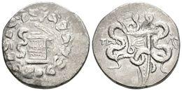 11 LYDIA, Tralleis. Cistophoro. 155-145 A.C. A/ Cista Mística Con Una Serpiente, Rodeada De Corona De Yedra. R/ Arco Ent - Spain
