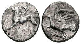 19 SIKYON. Hemidracma. 330-320 A.C. A/ Quimera Avanzando A Izquierda Con Pata Delantera Derecha Levantada. R/ Paloma Vol - Spain
