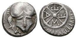 20 TRACIA, Mesembria. Dióbolo. 450-350 A.C. A/ Casco De Frente, A La Izquierda Letra A. R/ Rueda De Cuatro Radios, Dentr - Spain