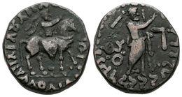 22 INDO-ESCITAS, Aspavarma. Tetradracma. 5-35 A.C. Taxila. A/ Rey A Caballo, Sosteniendo Látigo, Monograma Kharoshthi A  - Spain