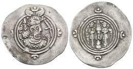 28 KHUSRU II. Dracma. 590-628 A.C. Año 26, Ceca DA (Darabgird). Reino Sasanida. A/ Busto De Khusru II A Derecha Con Coro - Spain